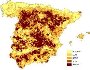 epresentación de la importancia de las áreas para aves esteparias en función de las categorías extraídas de los valores de los Índices Combinados. Modificado de Traba et al. (2007).