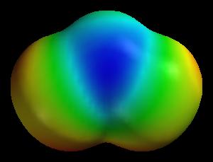 Representación tridimensional de la molécula de Ozono.
