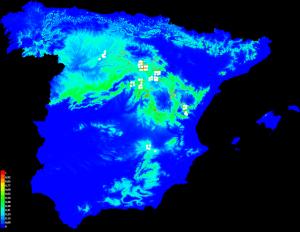 Mapa de distribución del Gamusino elaborado con Maxent