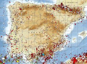 Mapa de sismicidad de la Península Ibérica (2013). Fuente:IGME.